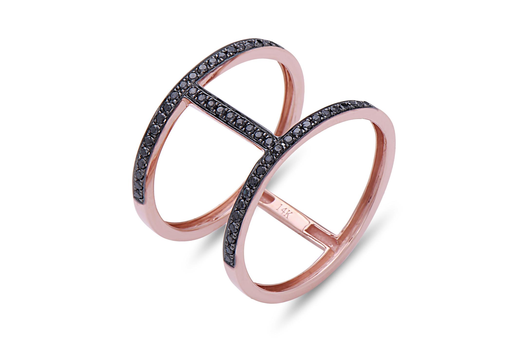 Black Diamond Couplet Ring