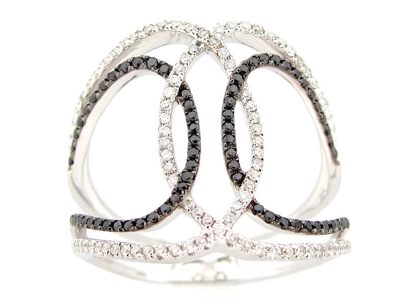 White & Black Diamond Looping Ring