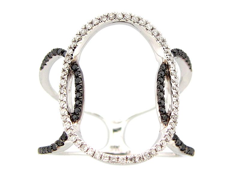 White & Black Diamond Open Oval Ring
