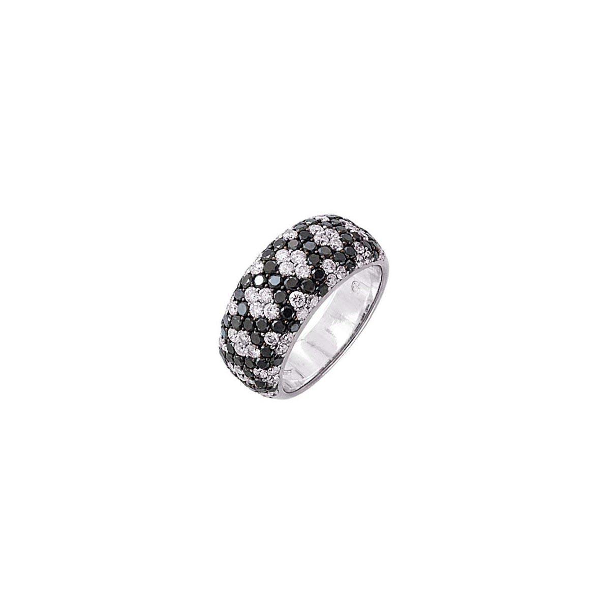 Micro-Pave Black & White Diamond Ring
