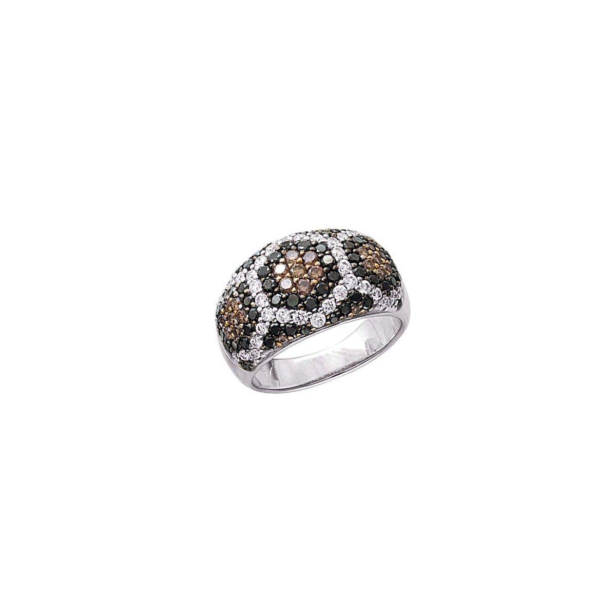 Black, Brown & White Diamond Ring