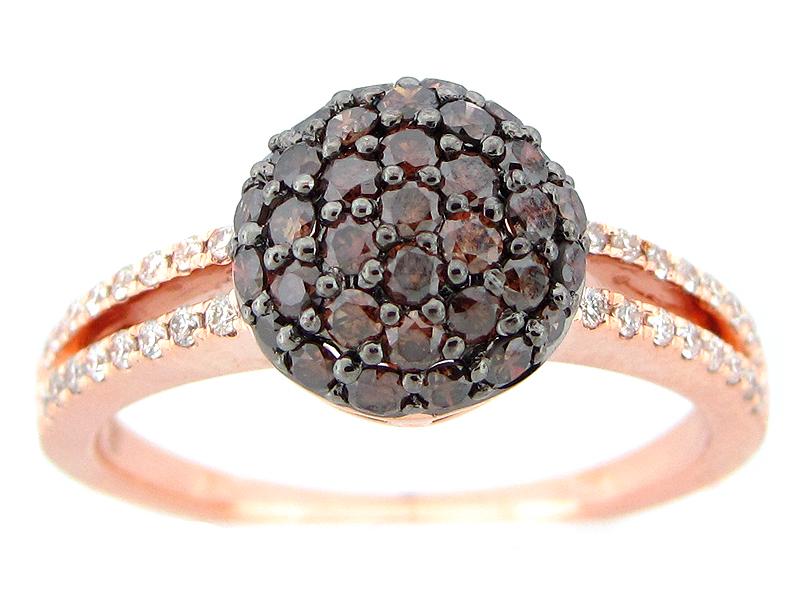 Brown White Diamond Pave Ball Ring