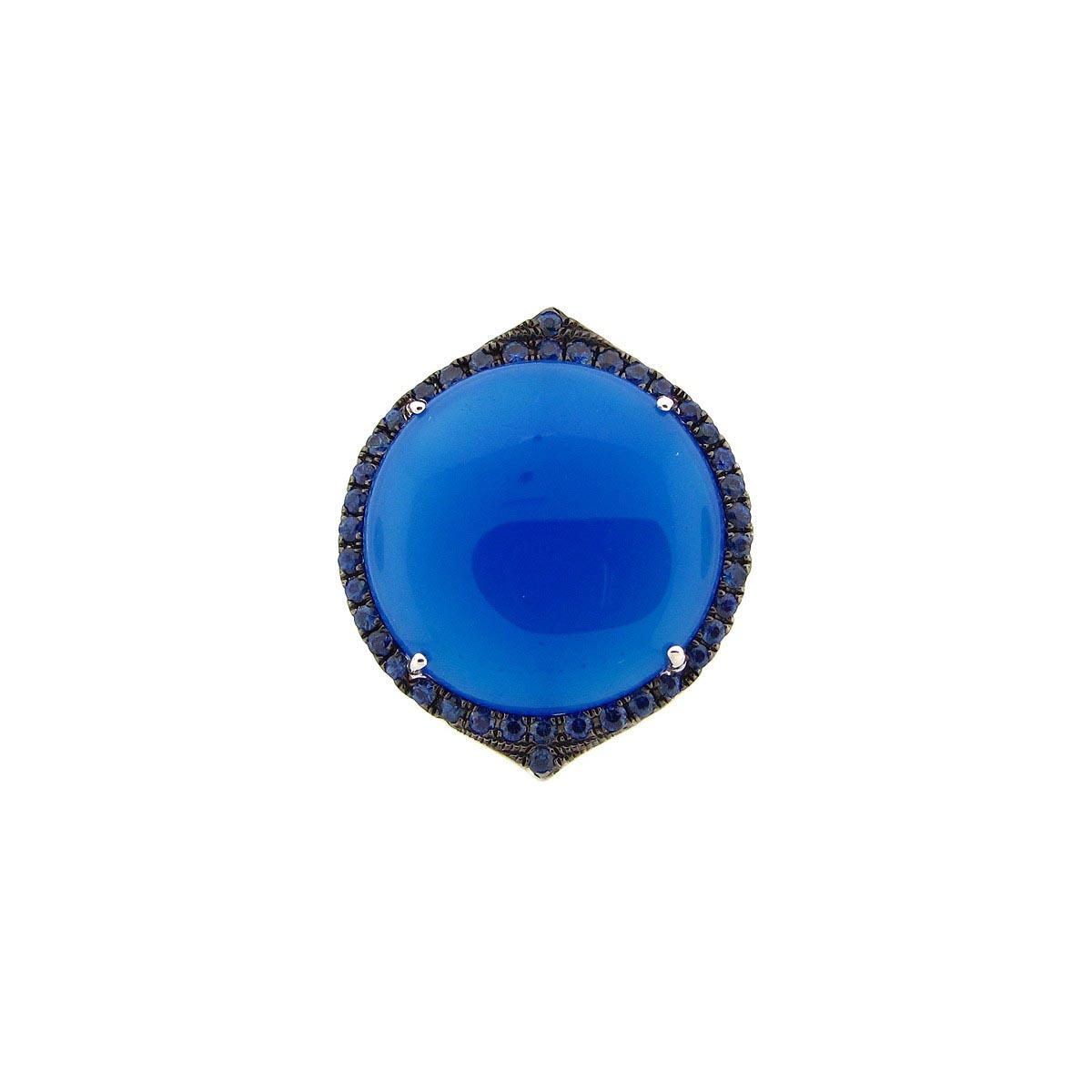 Blue Agate, Sapphire & Diamond Ring