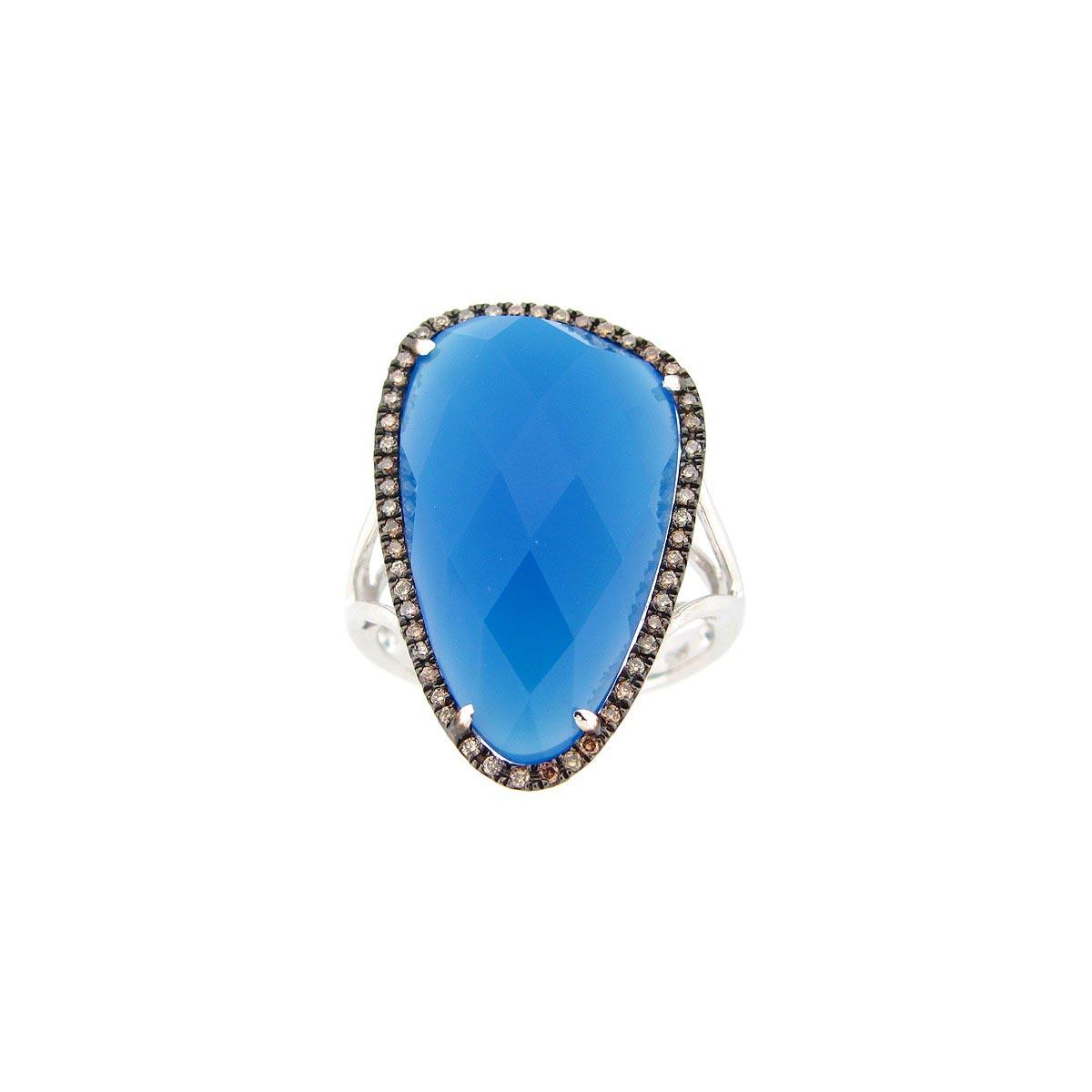 Blue Agate, Brown & White Diamond Ring