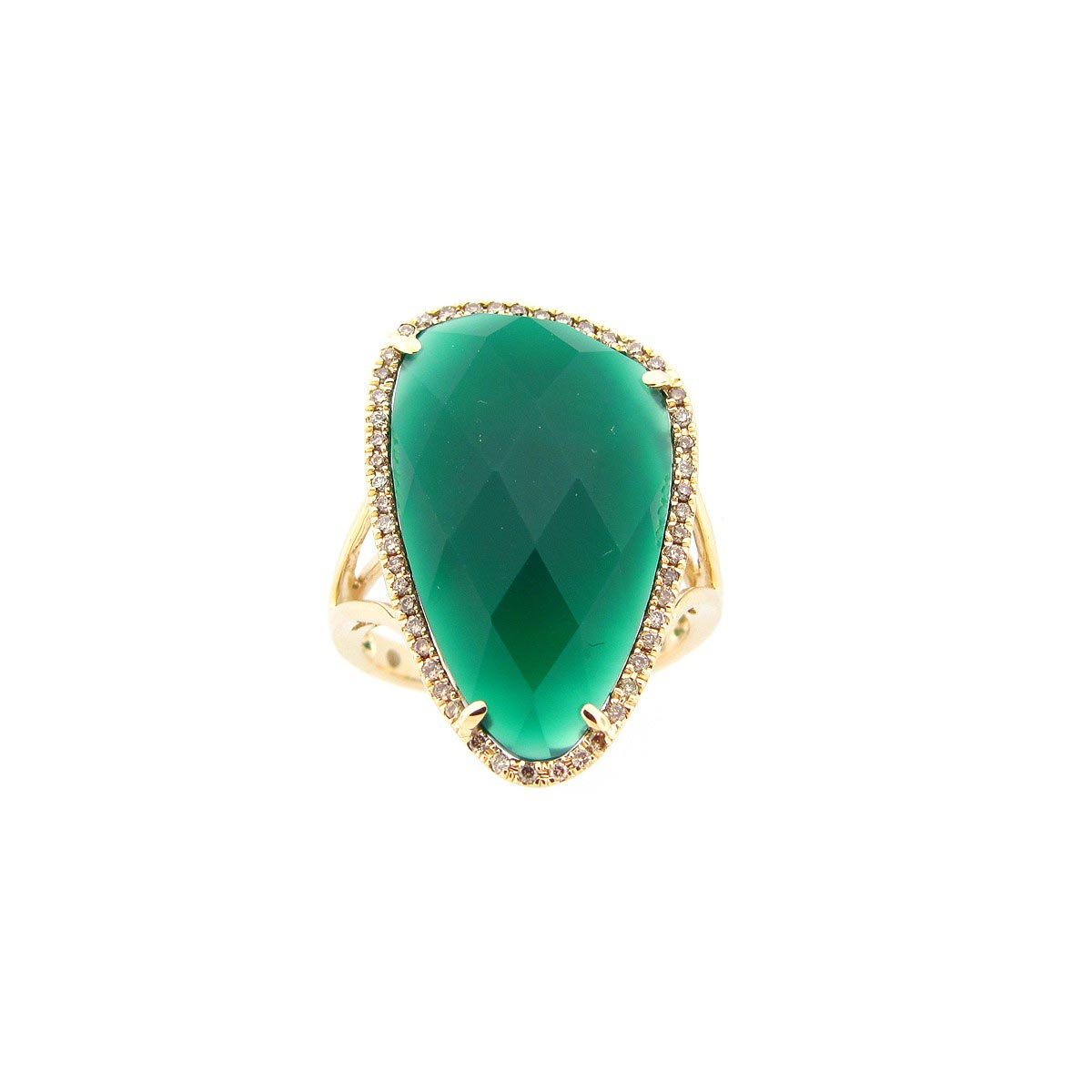 Green Agate & Brown Diamond Ring