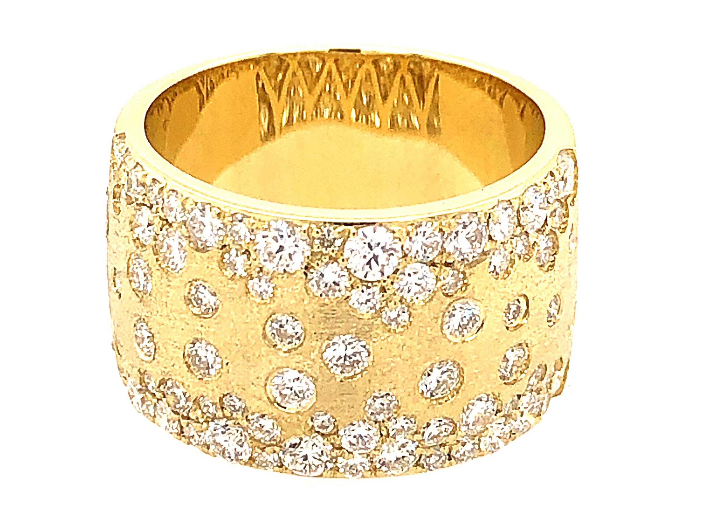 Diamond Scattered Flush Set Cigar Ring