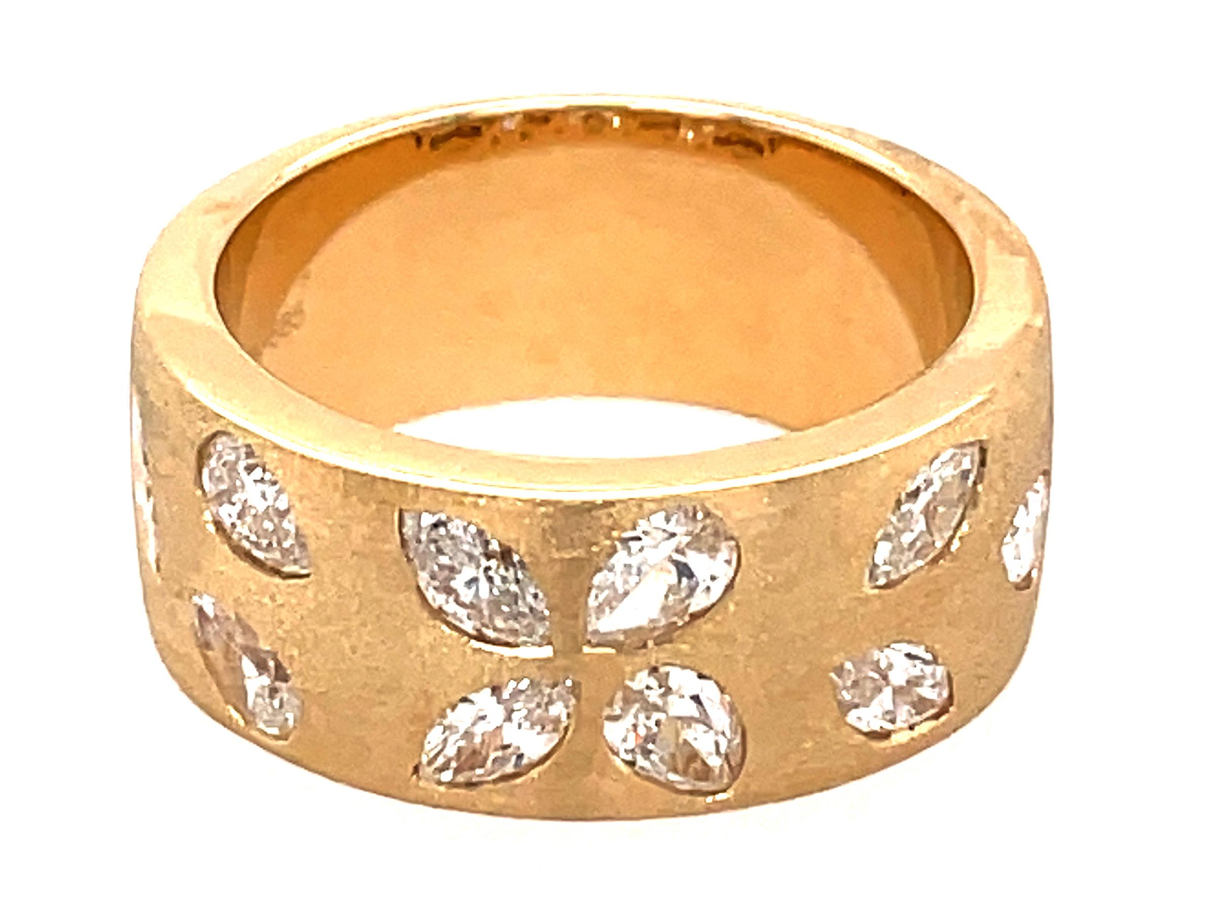 Diamond Pear & Marquise Flush Set Cigar Band Ring