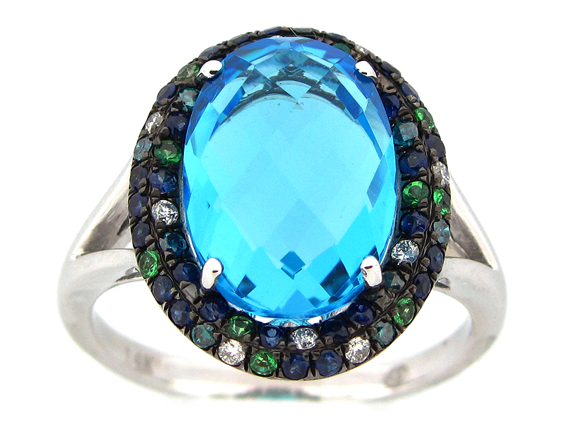 Blue Topaz & Color Diamond Ring