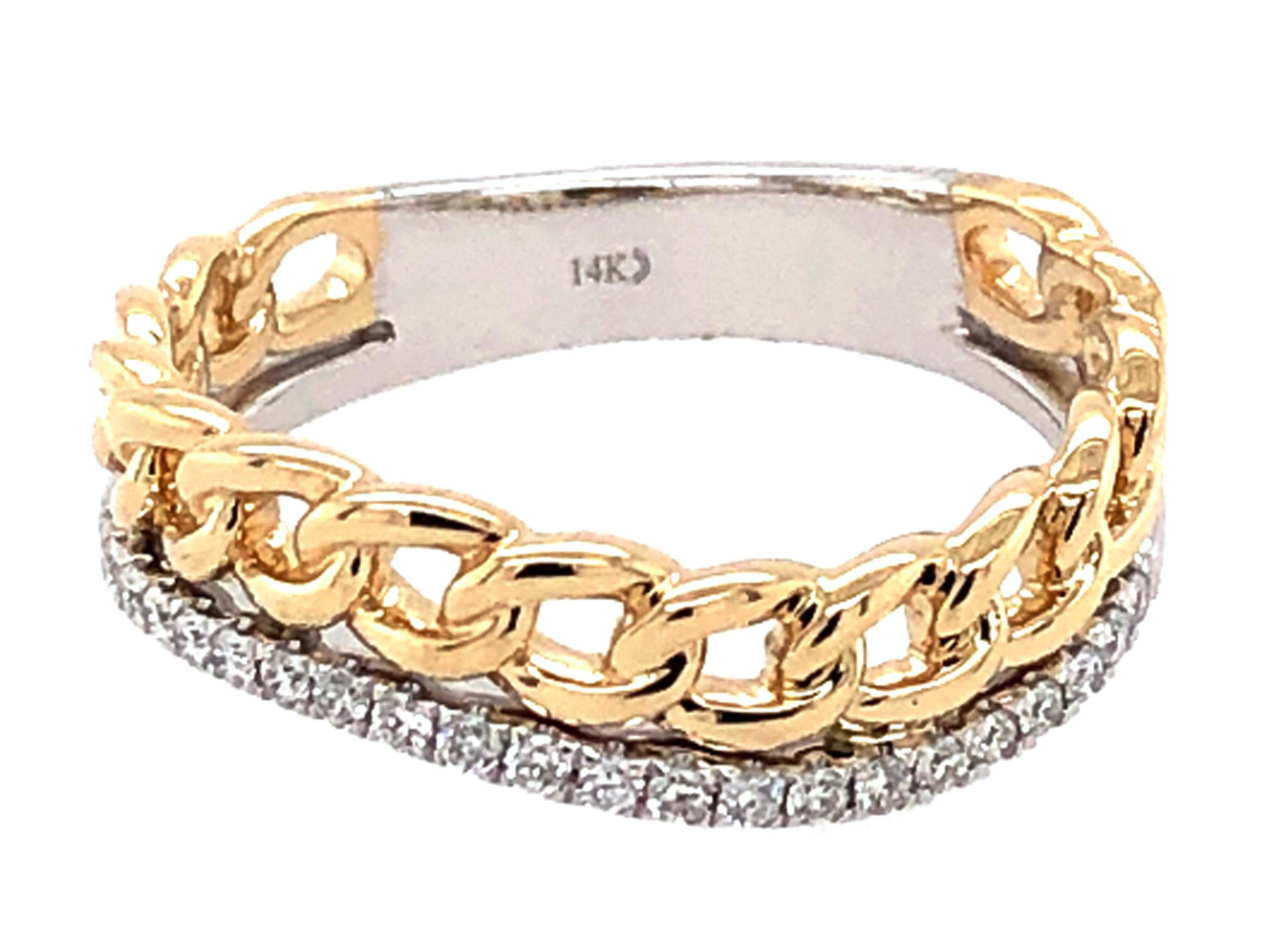 Diamond Link Wave Ring