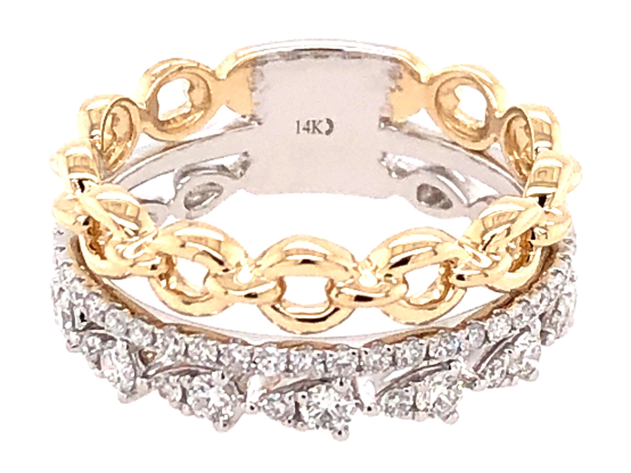 Diamond Link Stack Ring