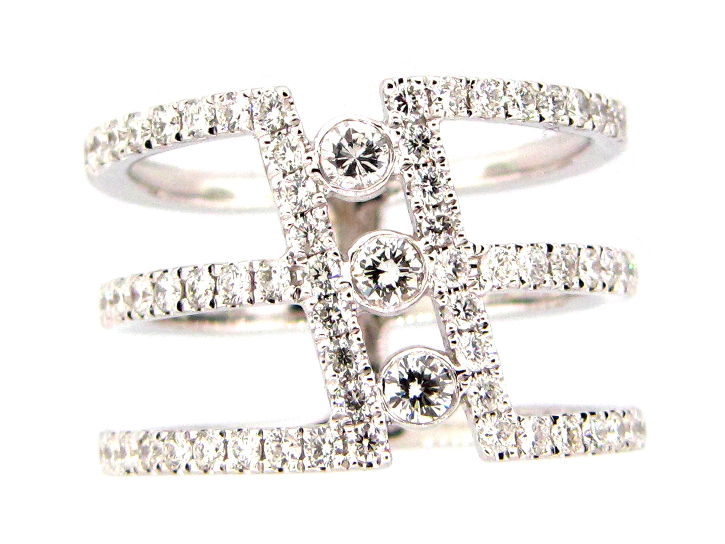 Diamond 3 Row Cylinder Ring