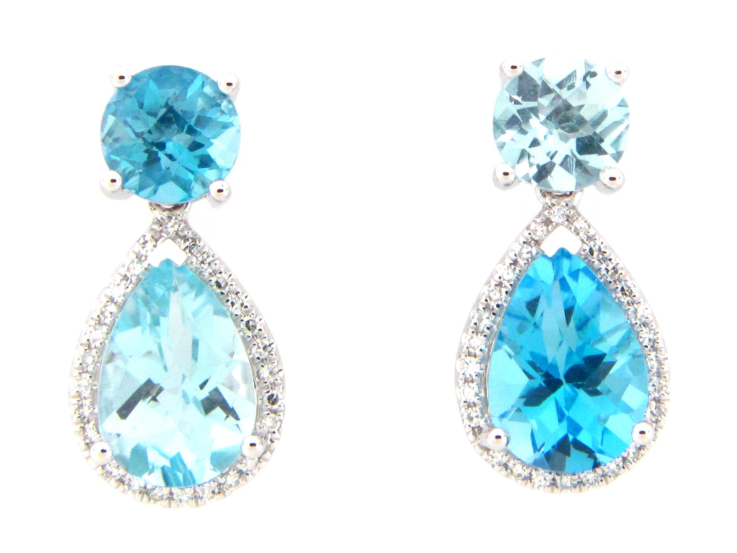 Swiss & Sky Blue Topaz Cross Pair Earring