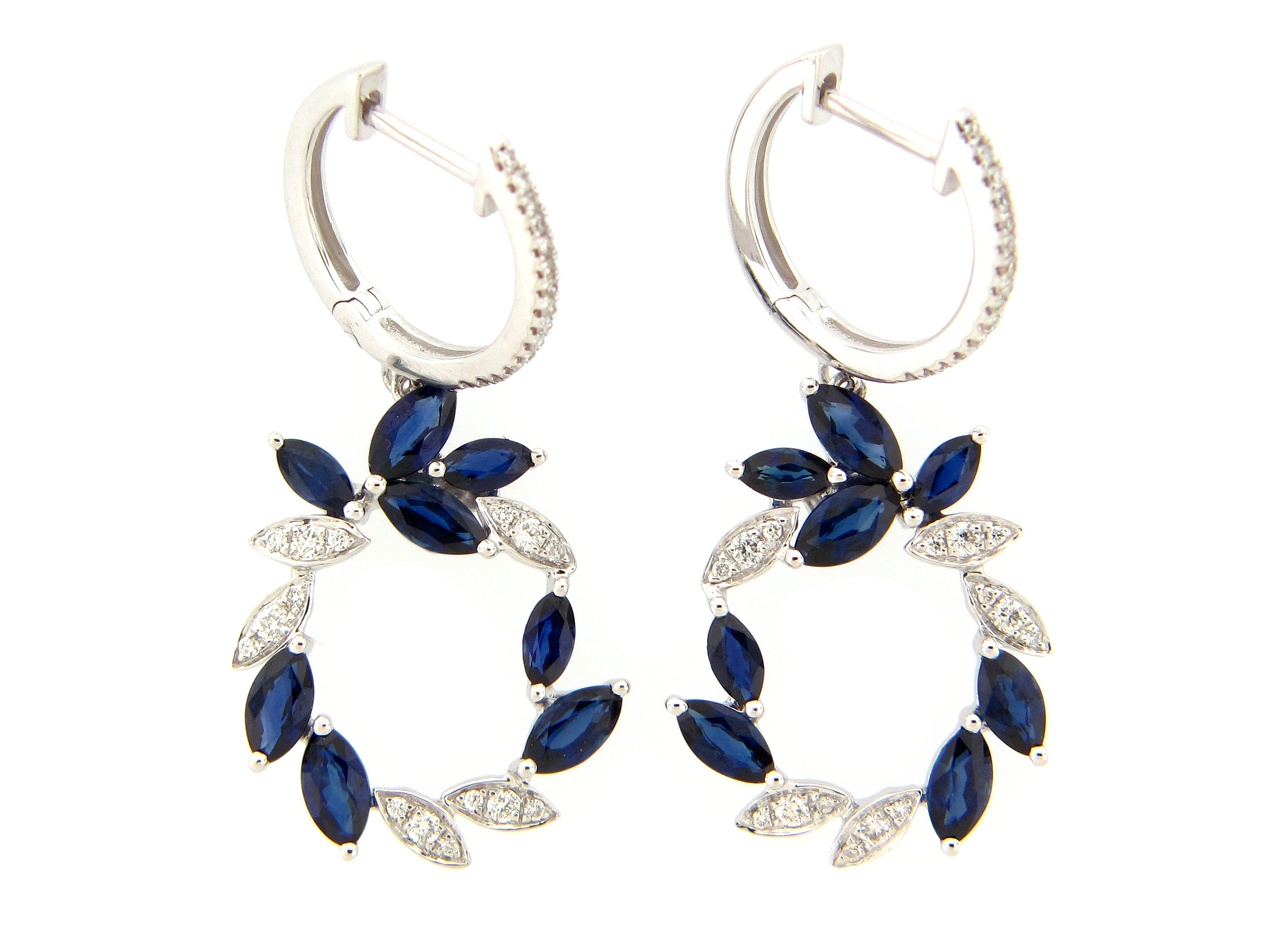 Sapphire & Diamond Wreath Dangle Earring