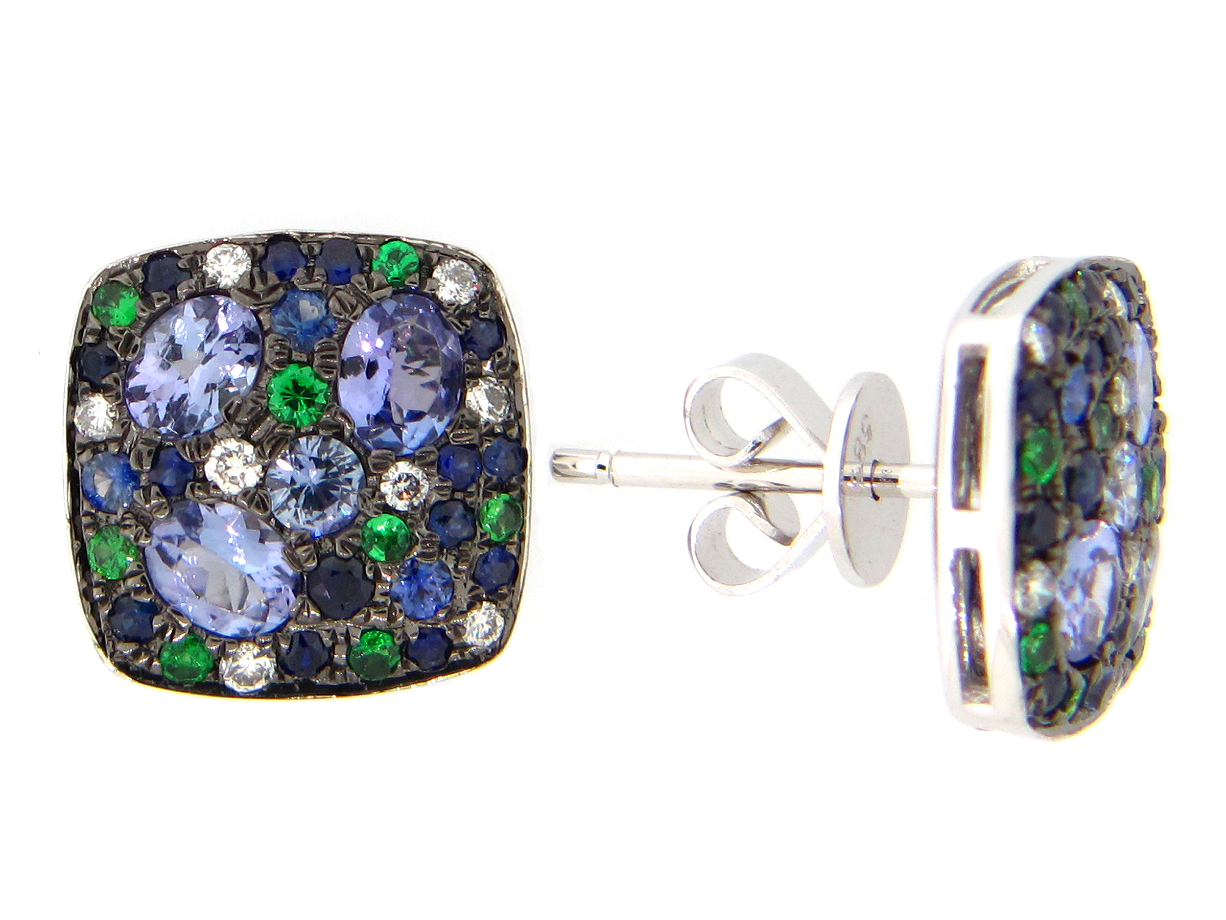Mixed Gem & Diamond Earring