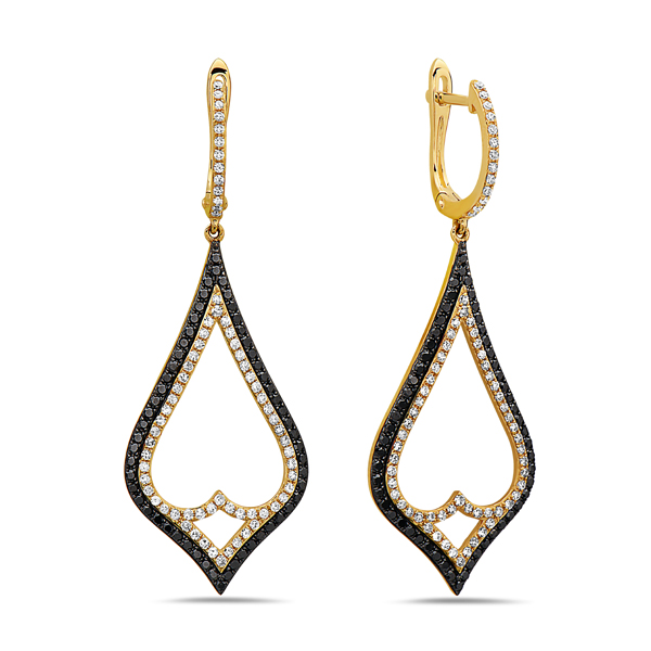 Black & White Diamond Large Dangle Earring