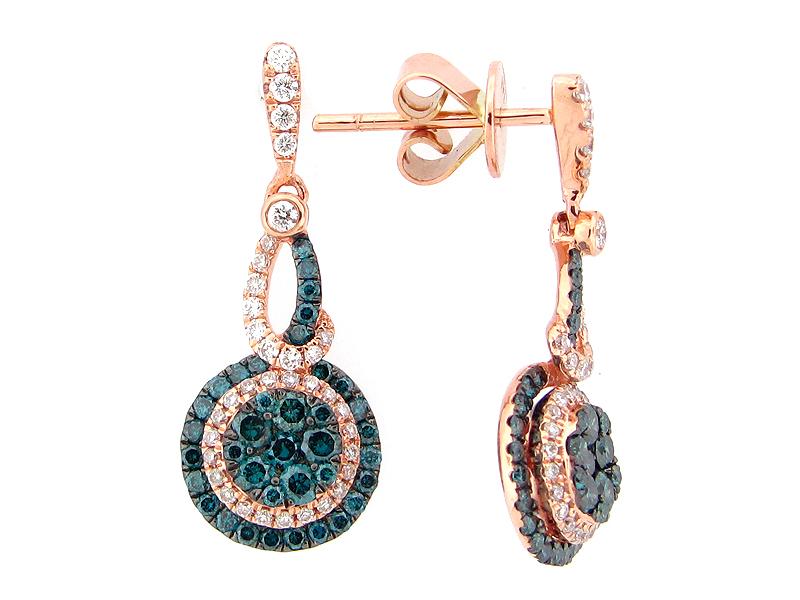 Irradiated Blue & White Diamond Earring