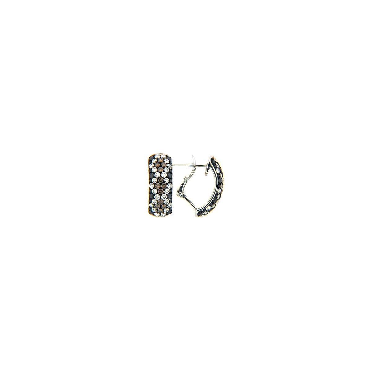 Black, Brown & White Diamond Earring