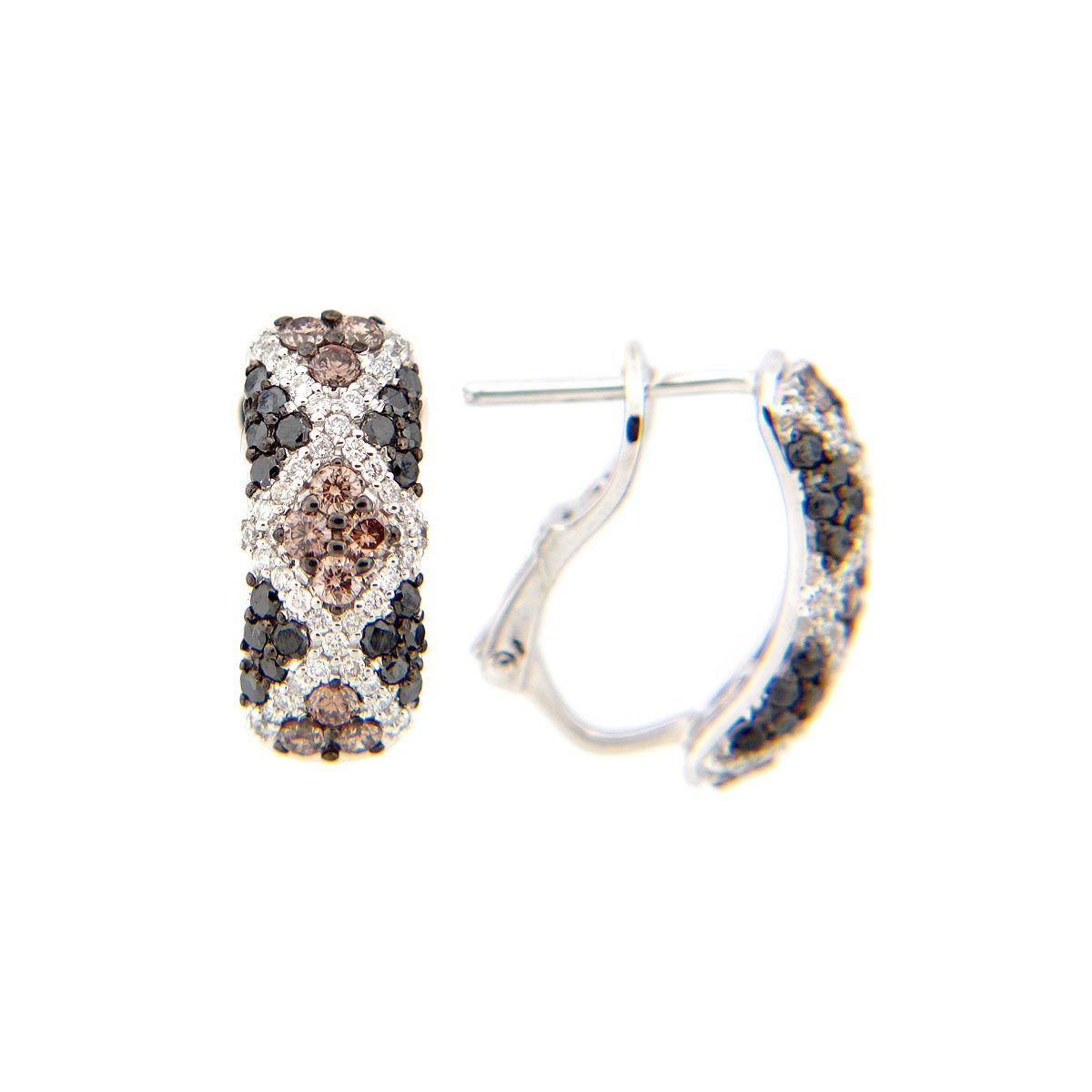 Black, Brown & White Diamond Earring