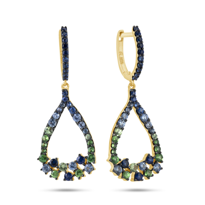 Sapphire and Tsavorite Dangle Earring