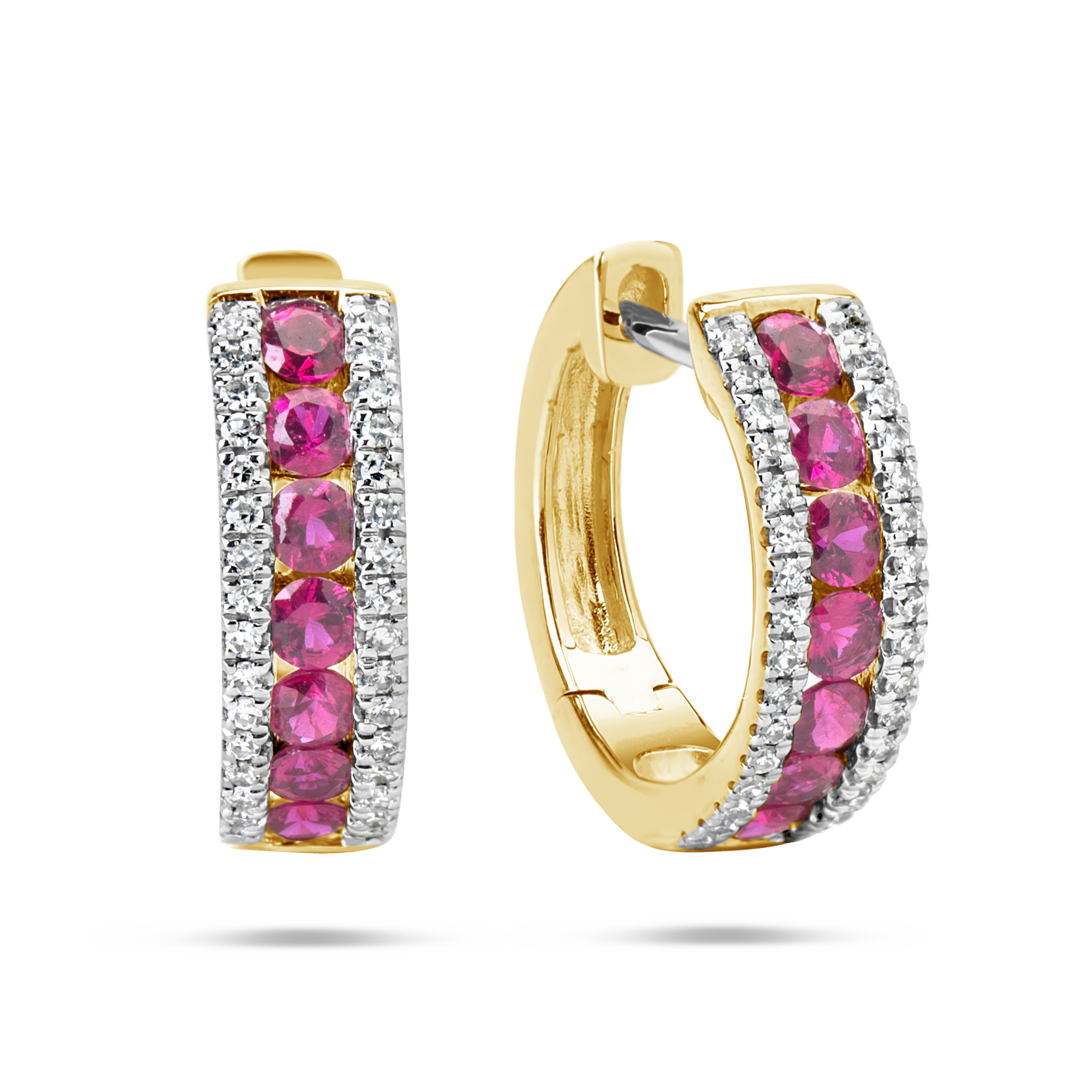 Ruby & Diamond Huggie Earring