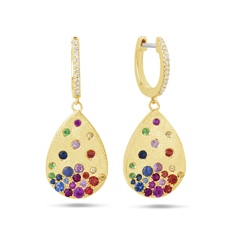 Rainbow Sapphire & Diamond Pear Earring