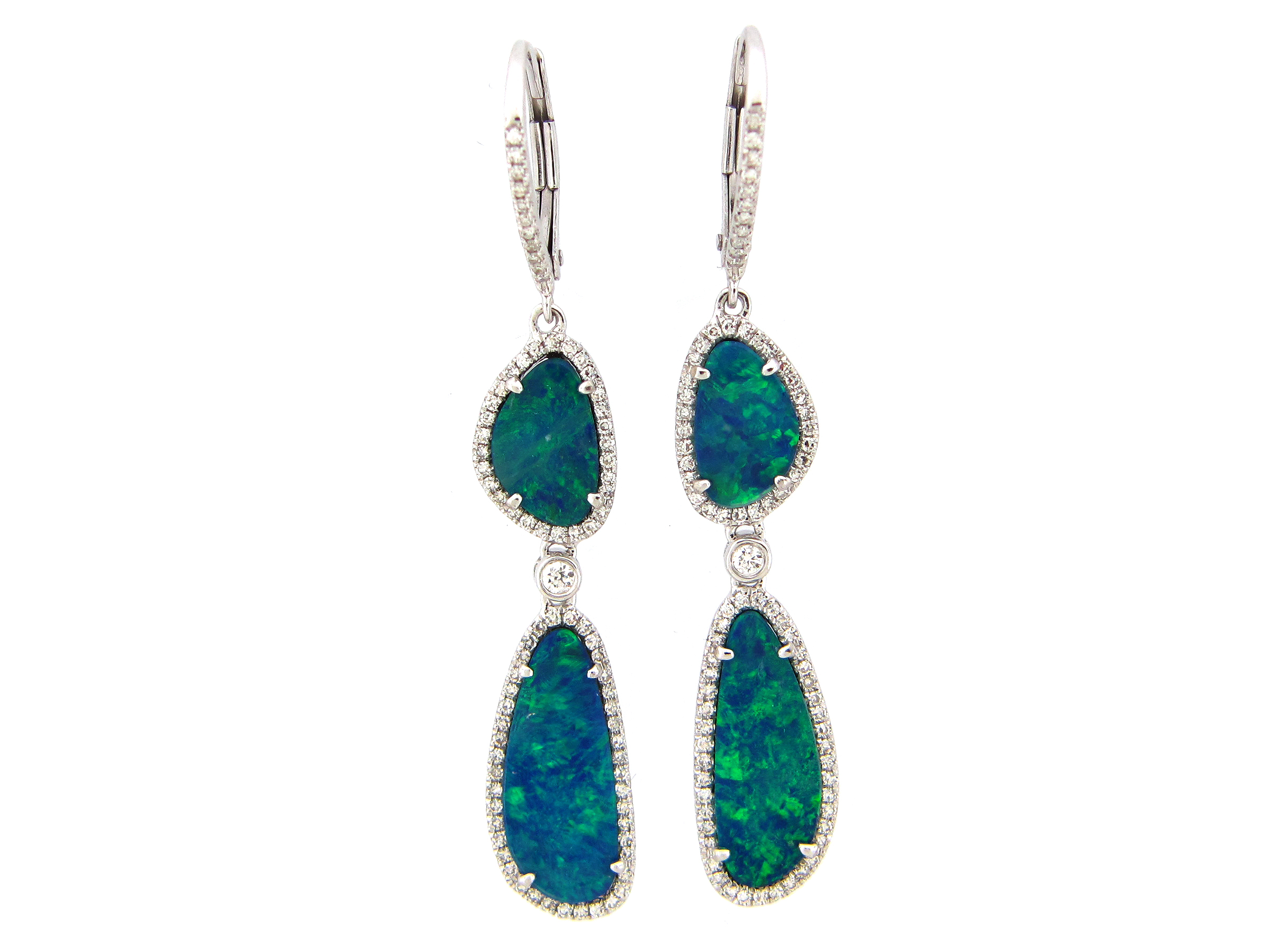 Black Opal & Diamond 2 Station Dangle Earring