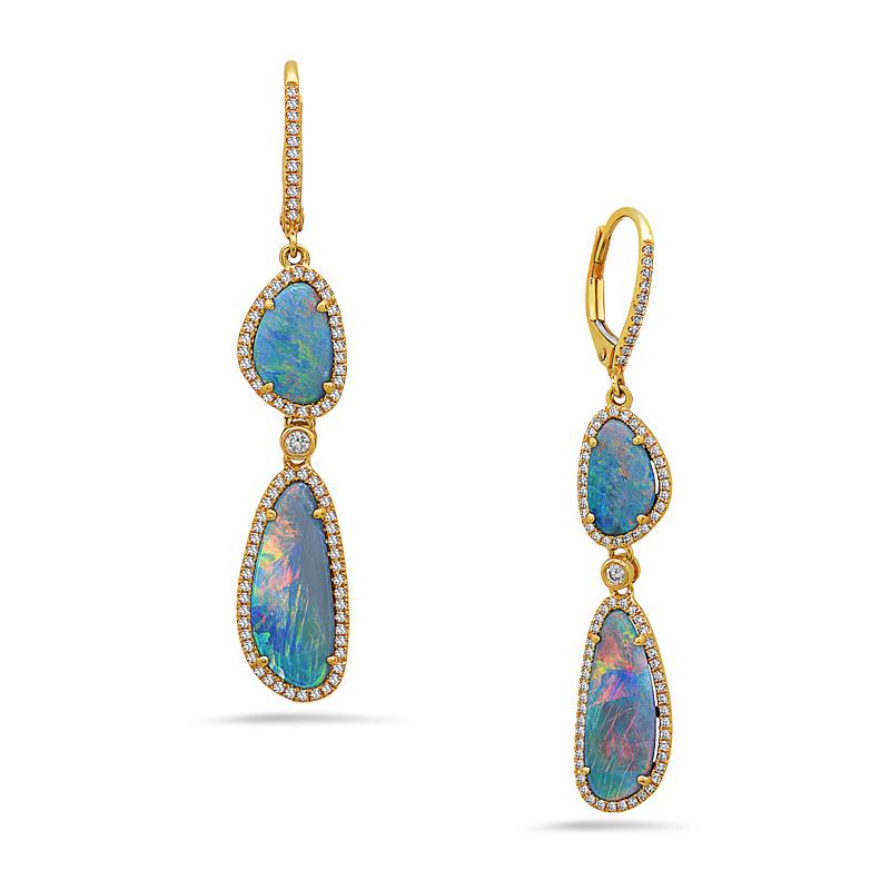 Opal & Diamond Dangle Earring
