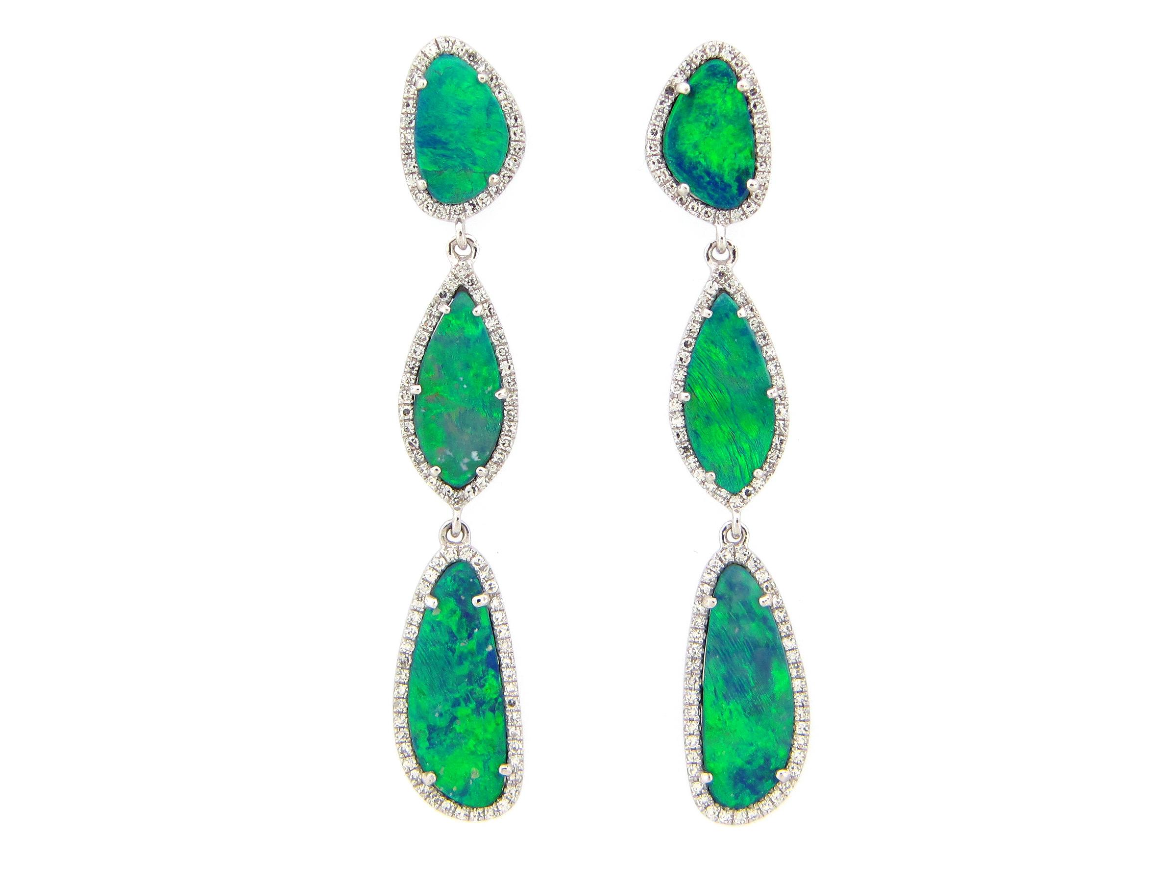 Black Opal & Diamond Dangle Earring