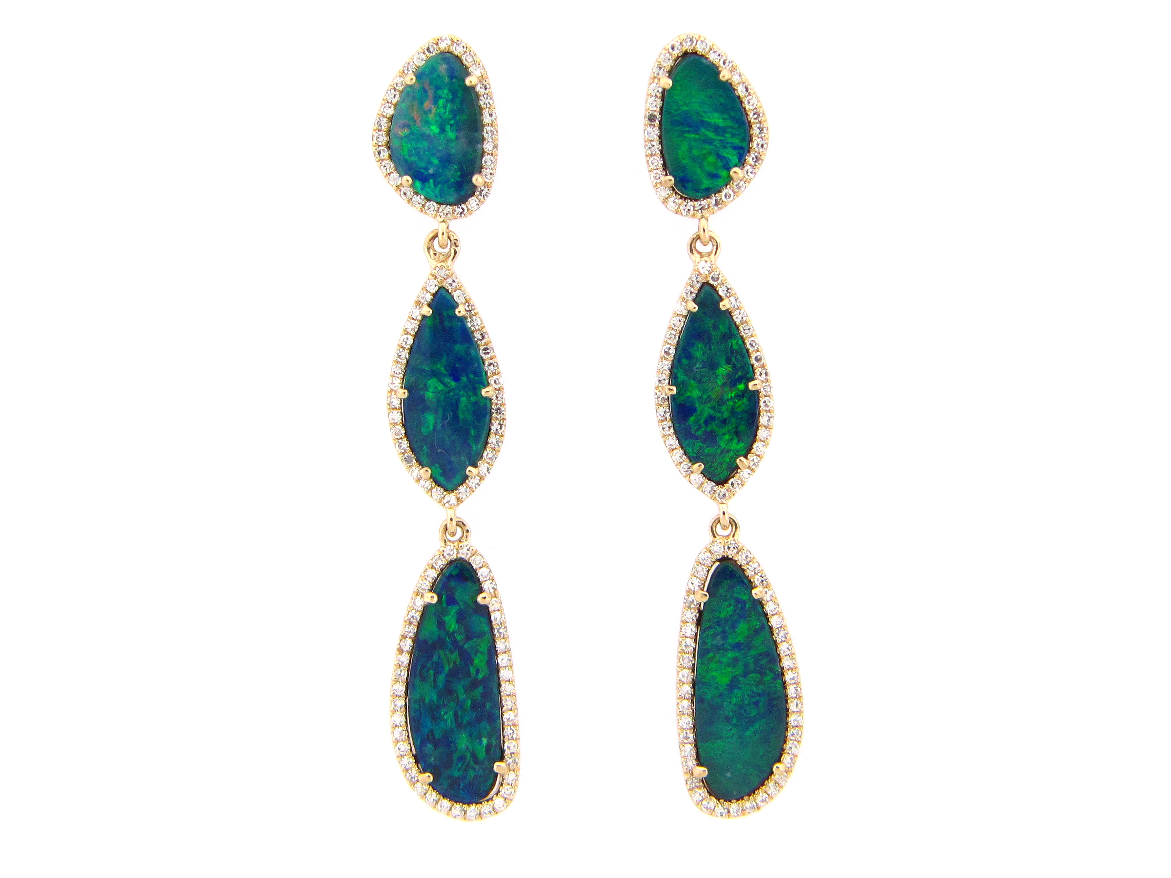 Black Opal & Diamond Dangle Earring