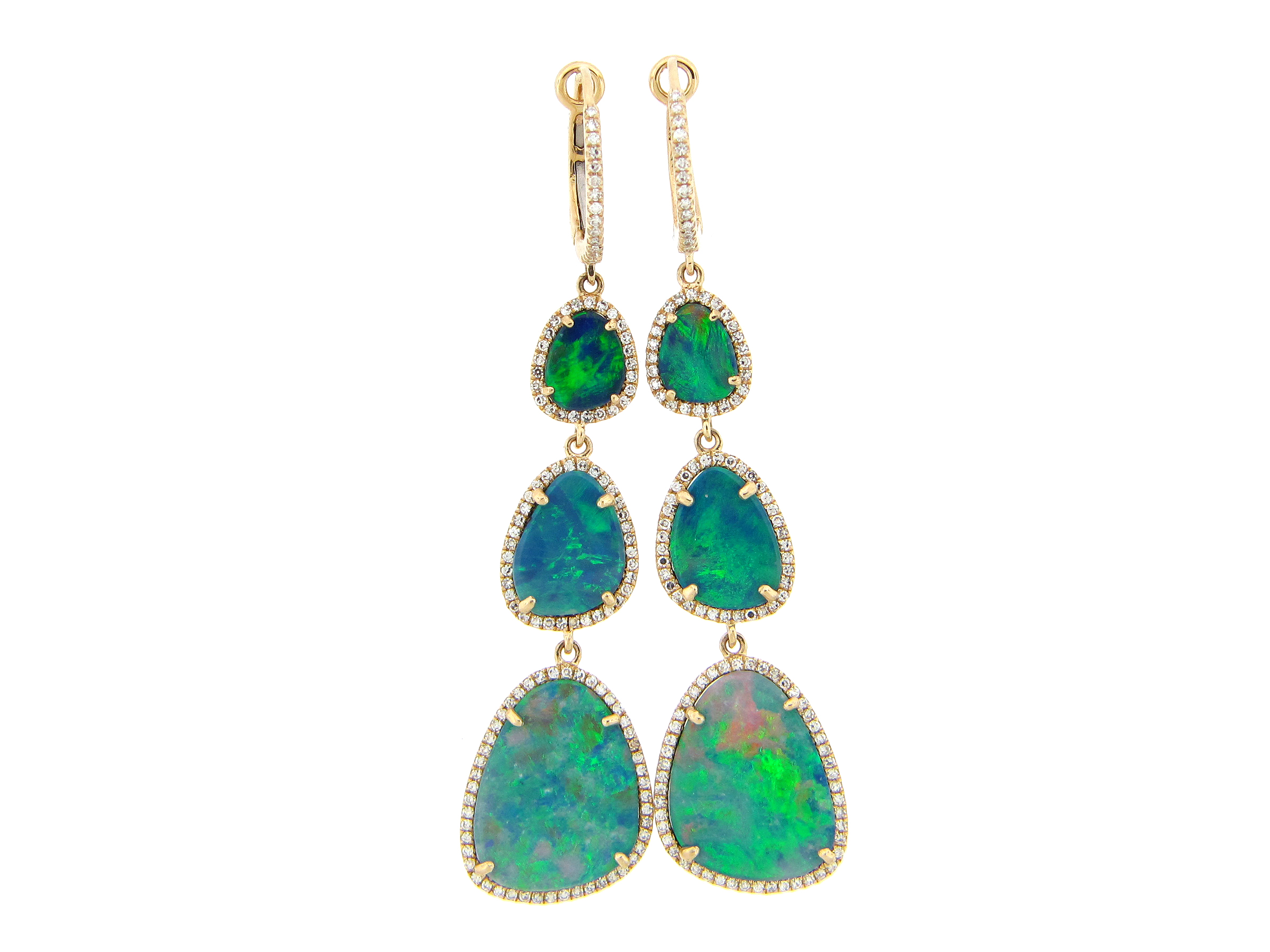 Black Opal & Diamond Halo Dangle Earring
