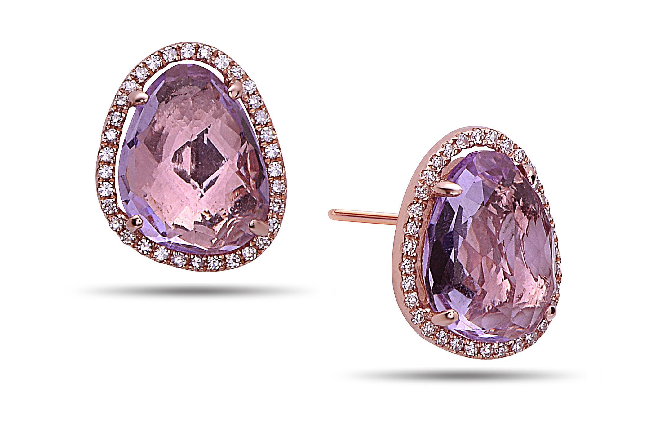 Amethyst & Diamond Stud Earring