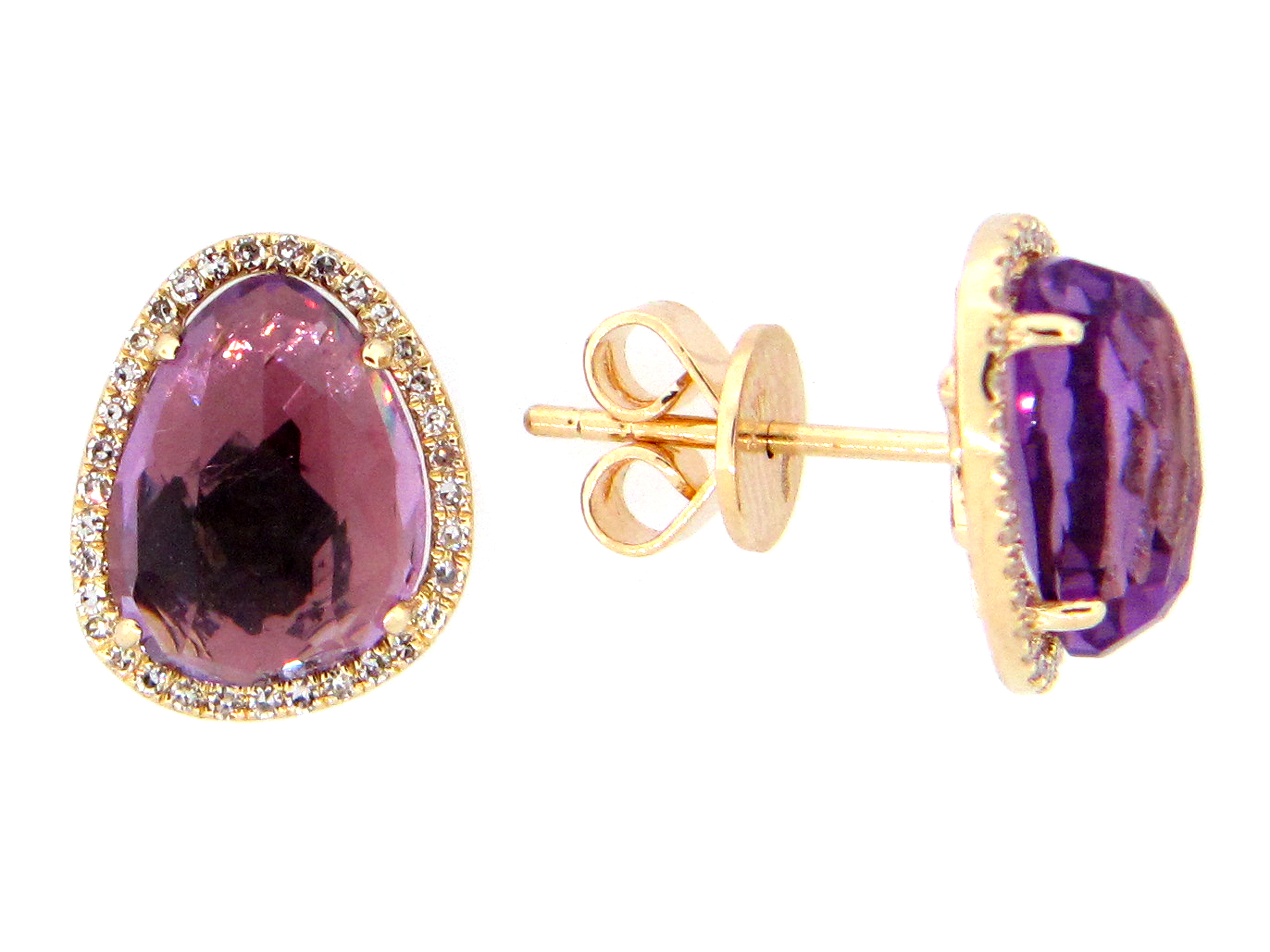Amethyst & Diamond Earring
