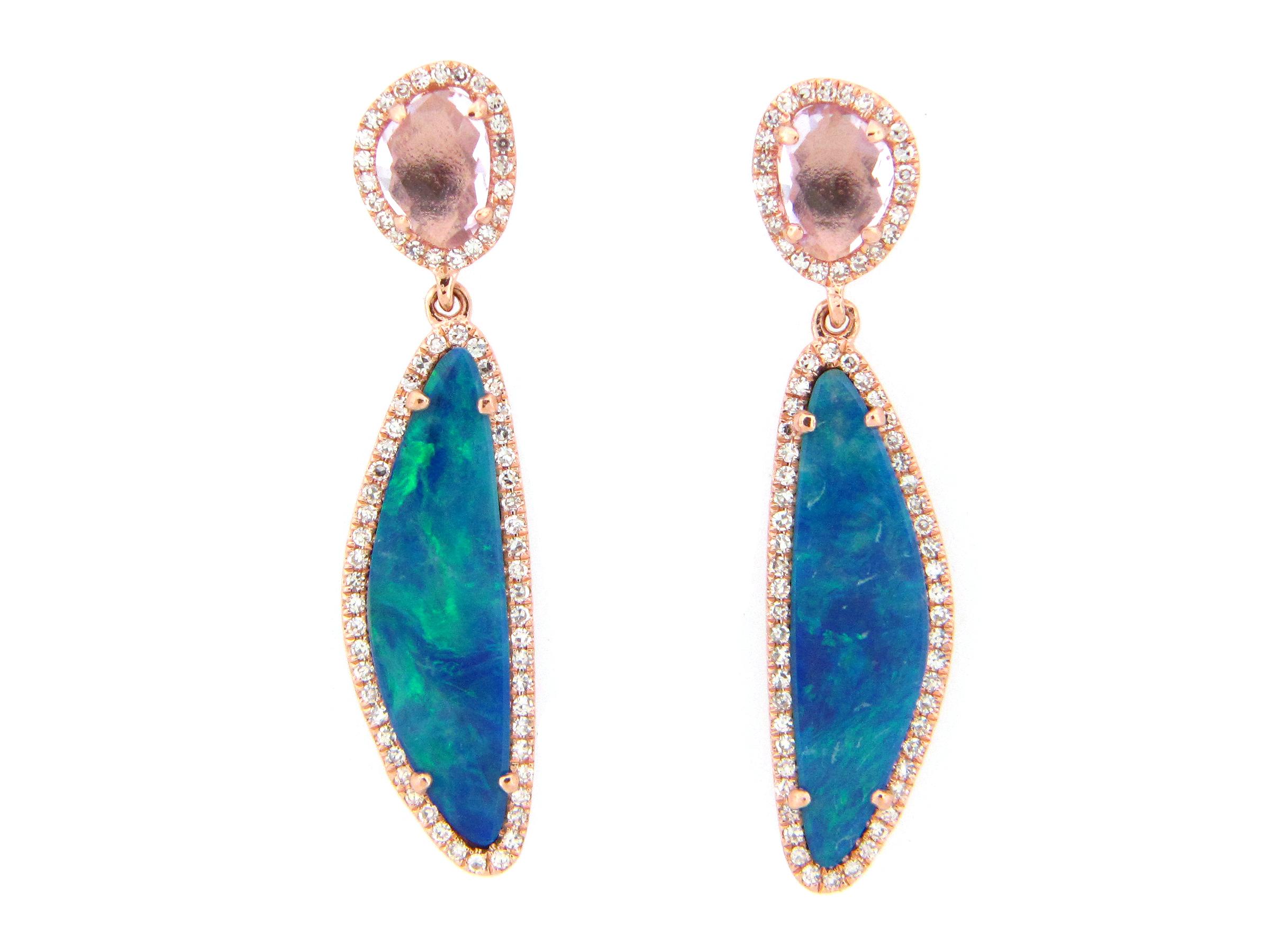 Black Opal, Amethyst & Diamond Earring
