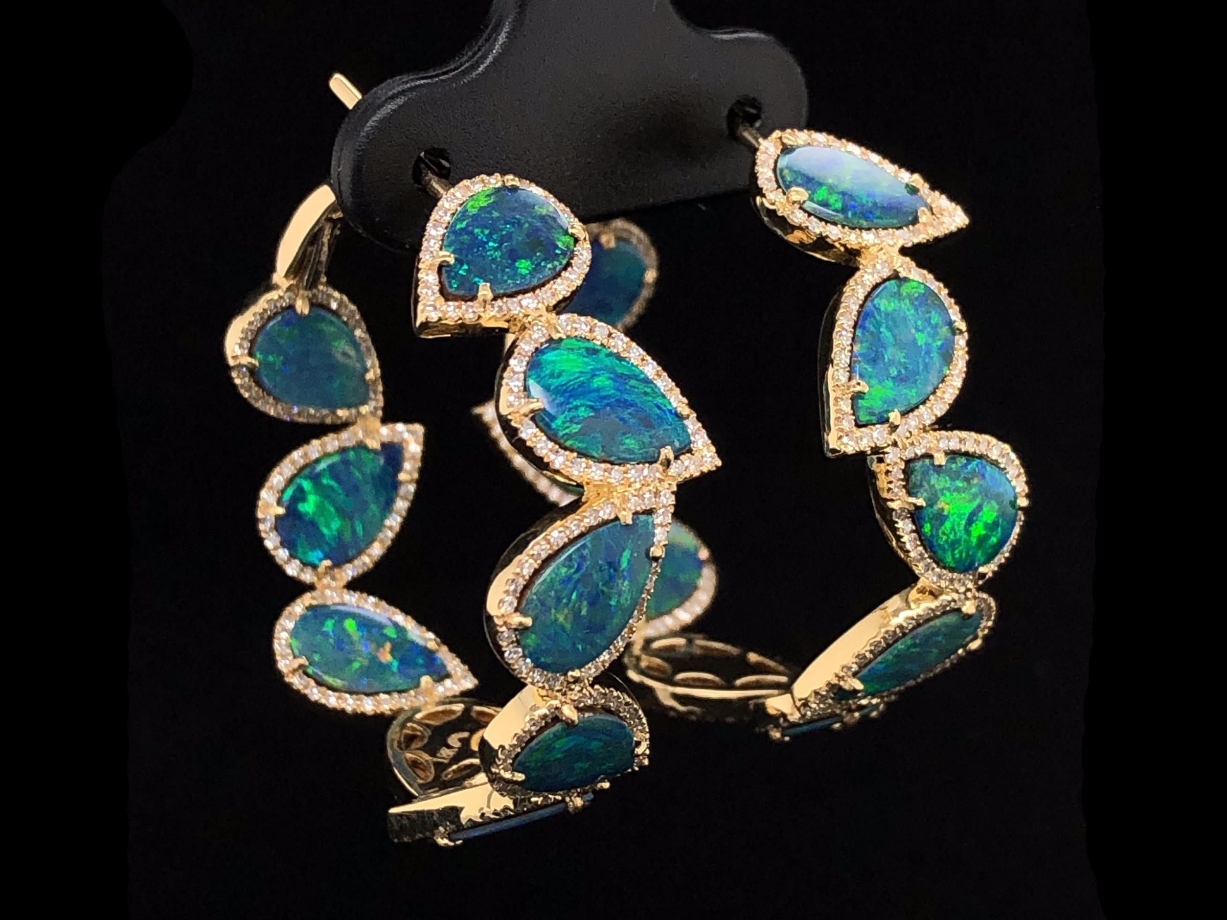 Black Opal Doublet & Diamond Hoop Earring