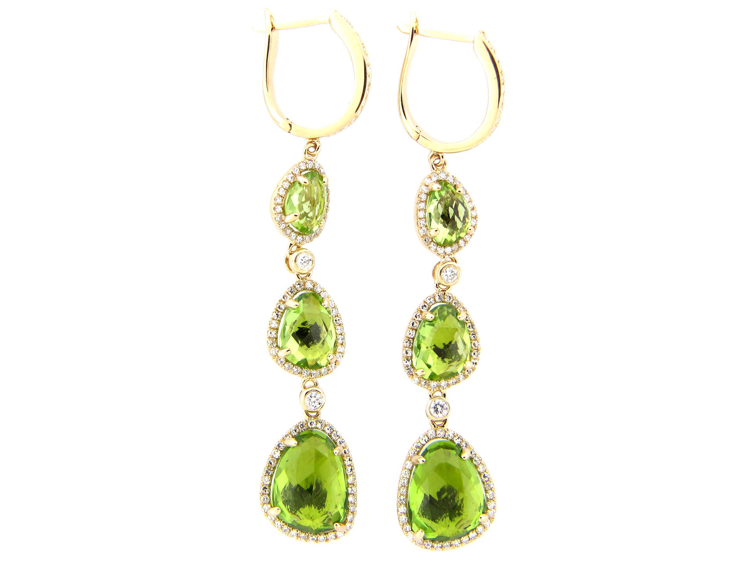 Peridot & Diamond Dangle Earring