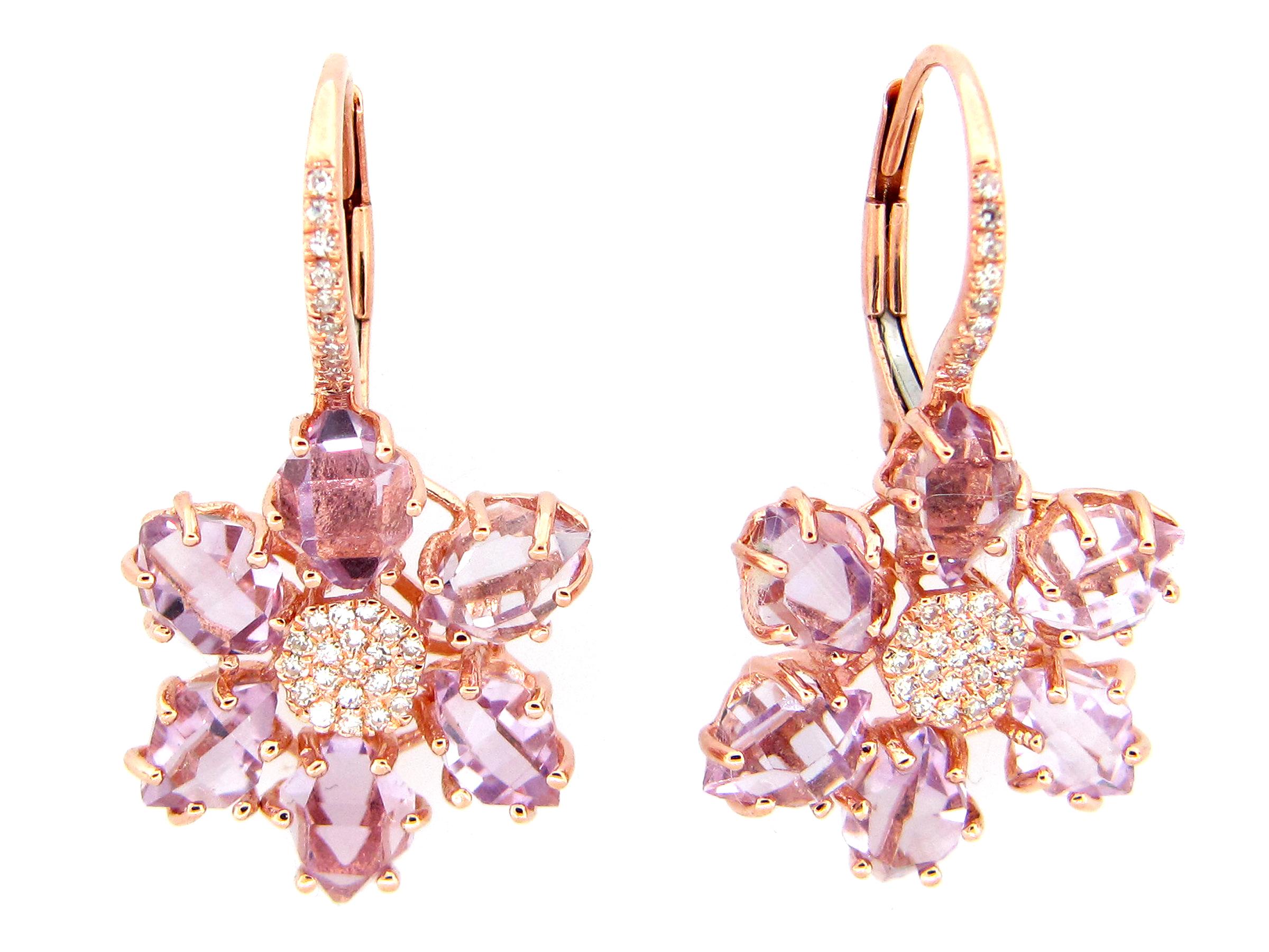 Amethyst & Diamond Earring