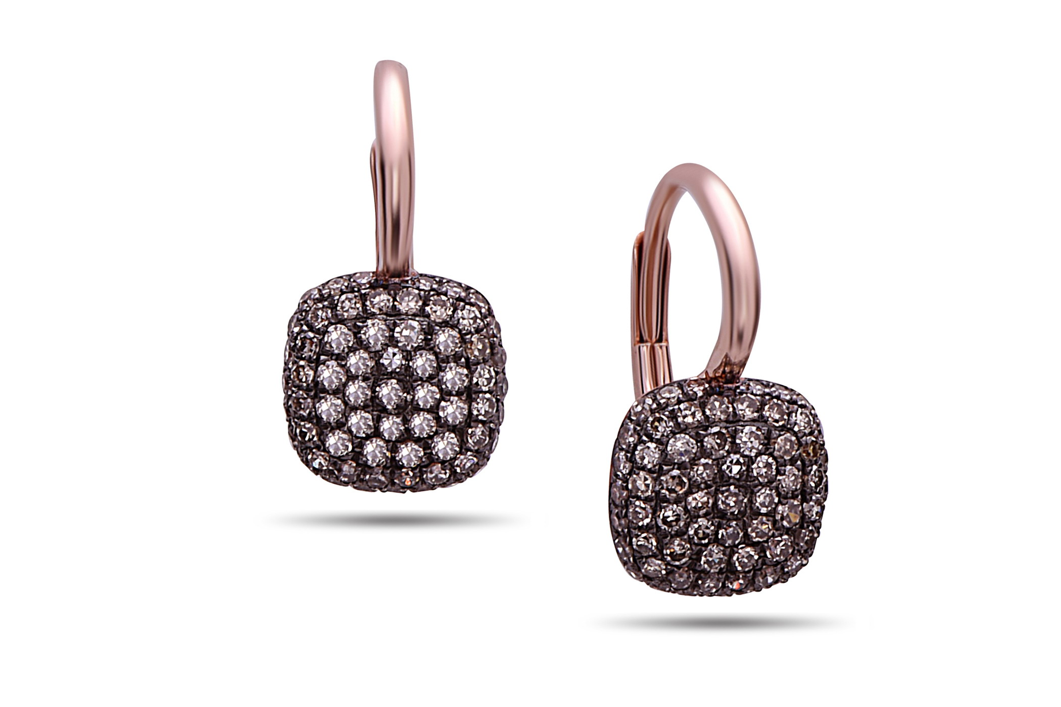 Brown Diamond Cushion Pave Earring