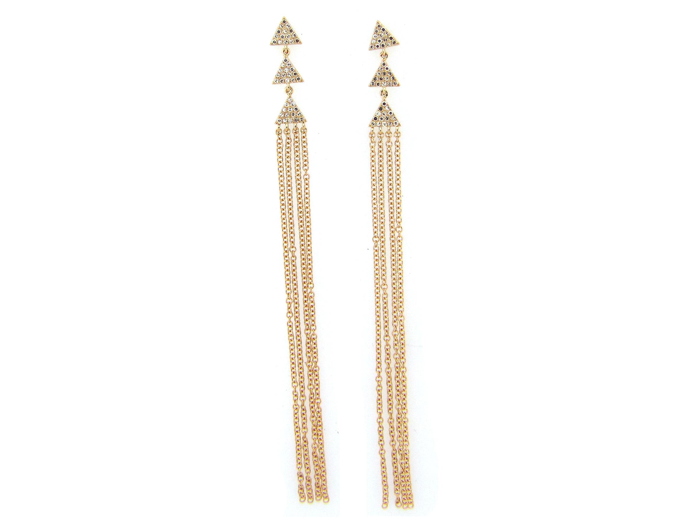 Diamond Triangle Tassel Earrings