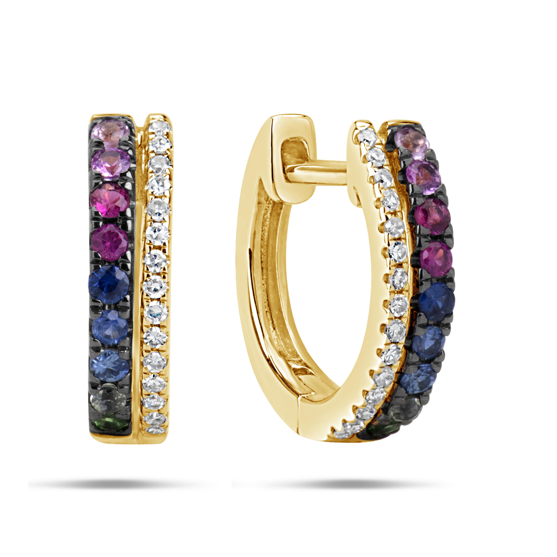 Rainbow Sapphire & Diamond Huggie Earring