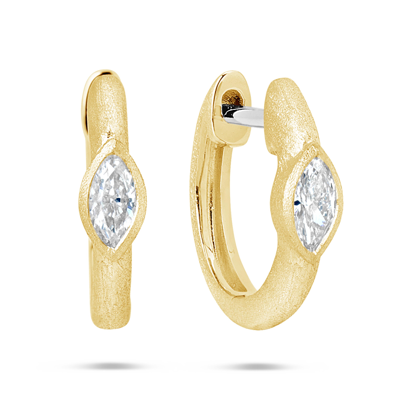 Diamond Marquise Huggie Earring