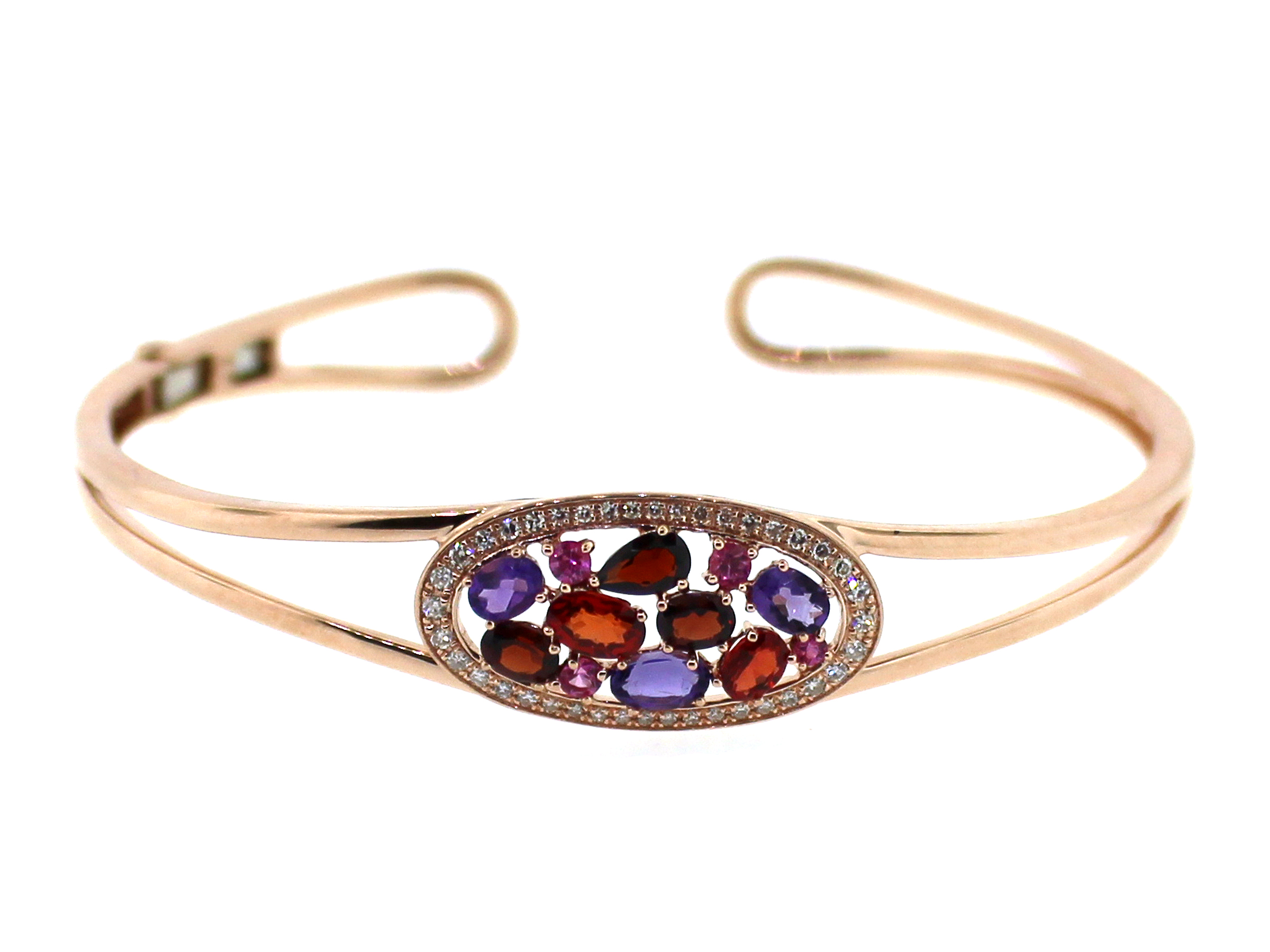 Mixed Gem & Diamond Bangle