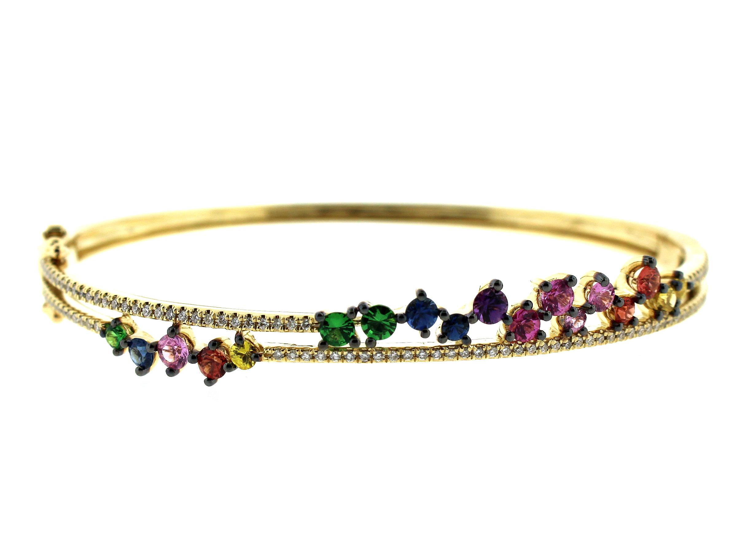 Rainbow Sapphire, Tsavorite & Diamond 2 Row Bangle
