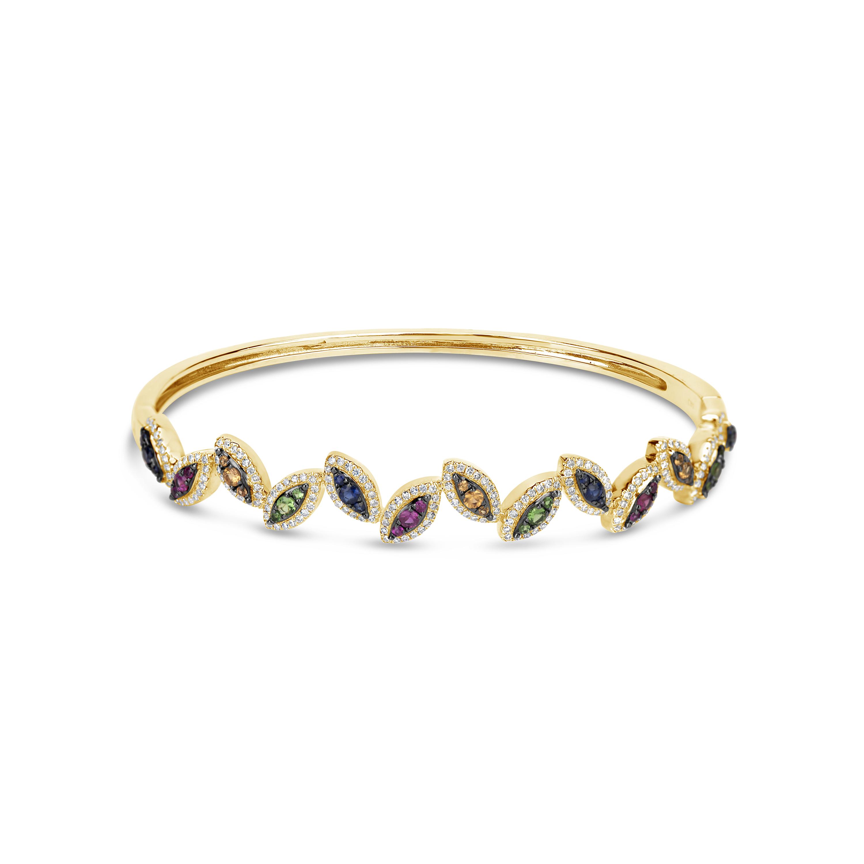 Rainbow Sapphire & Diamond Bangle