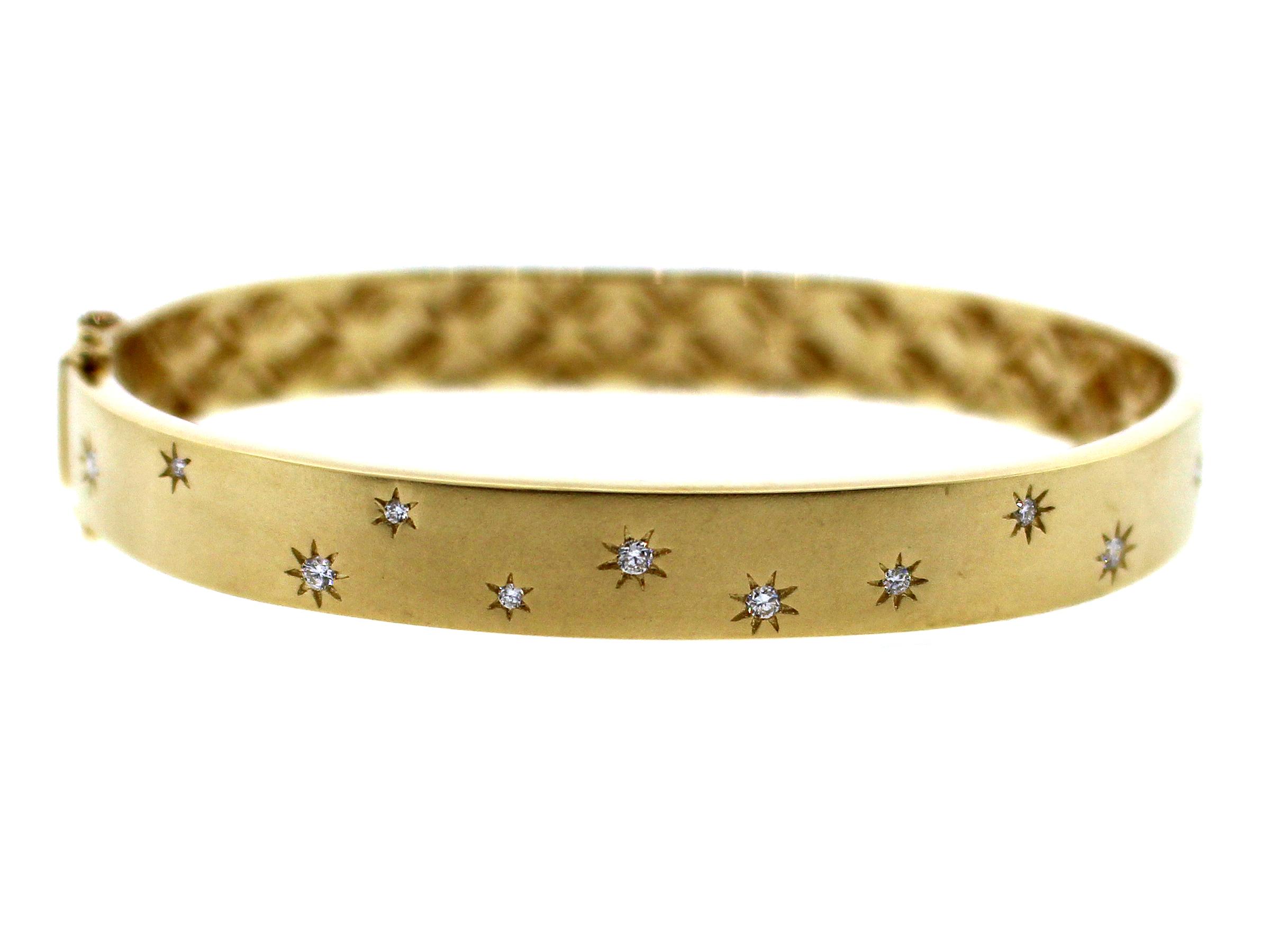 Diamond Scatter Stars Flush Set Satin Finish Bangle