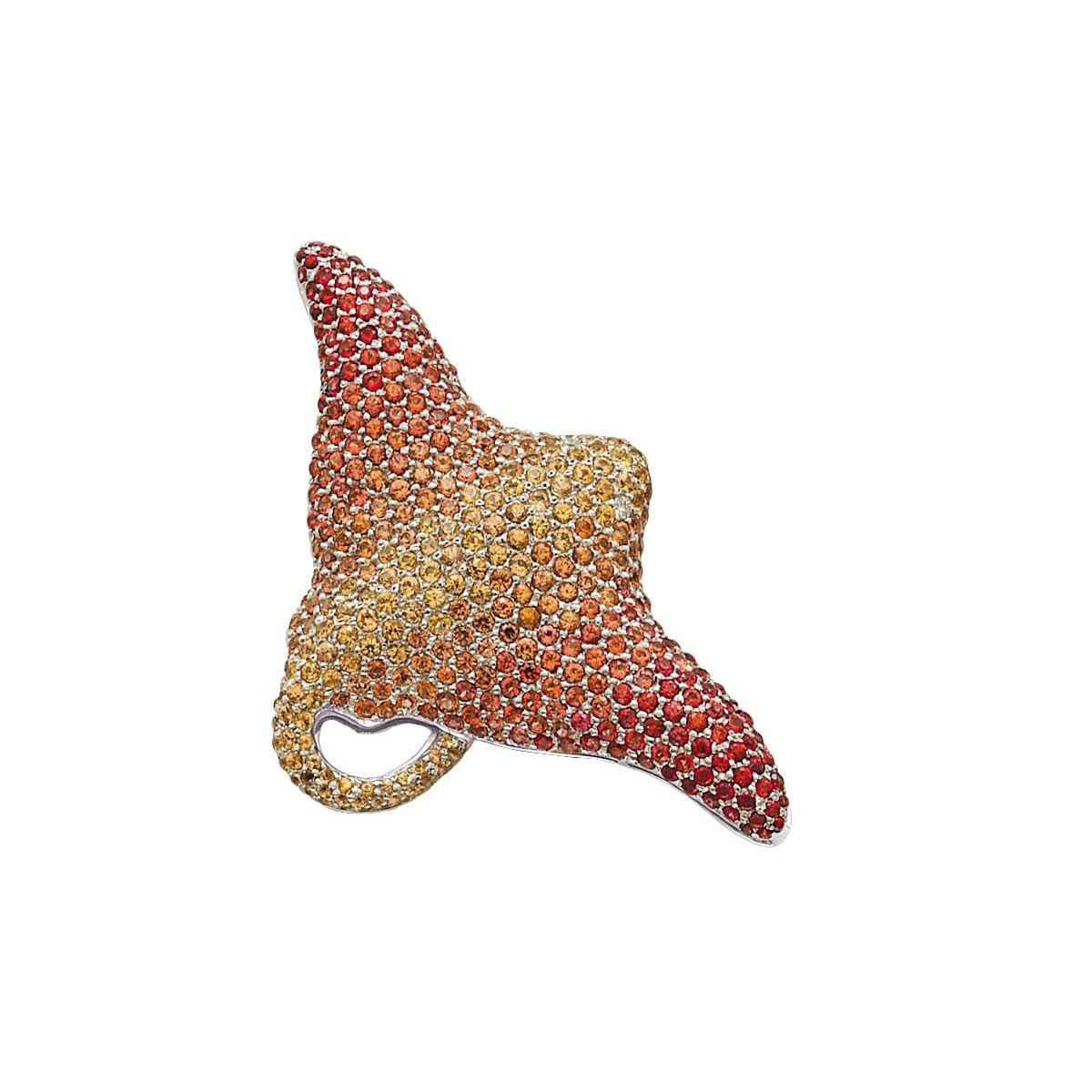 Micro-Pave Shades of Orange Sapphire & Diamond Brooch