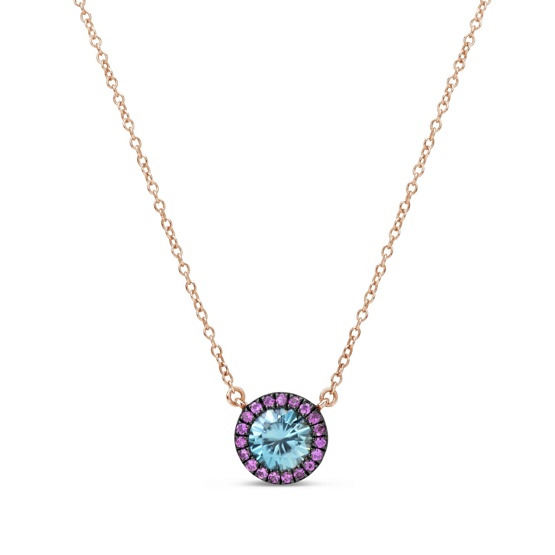 Blue Zircon & Pink Sapphire Pendant Necklace