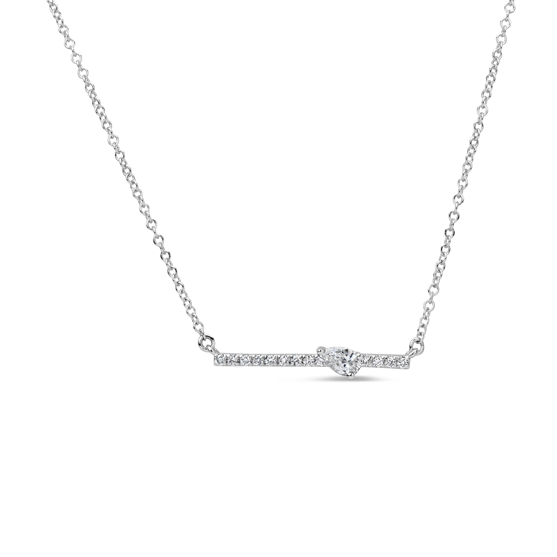 Diamond Pear Bar Pendant Necklace