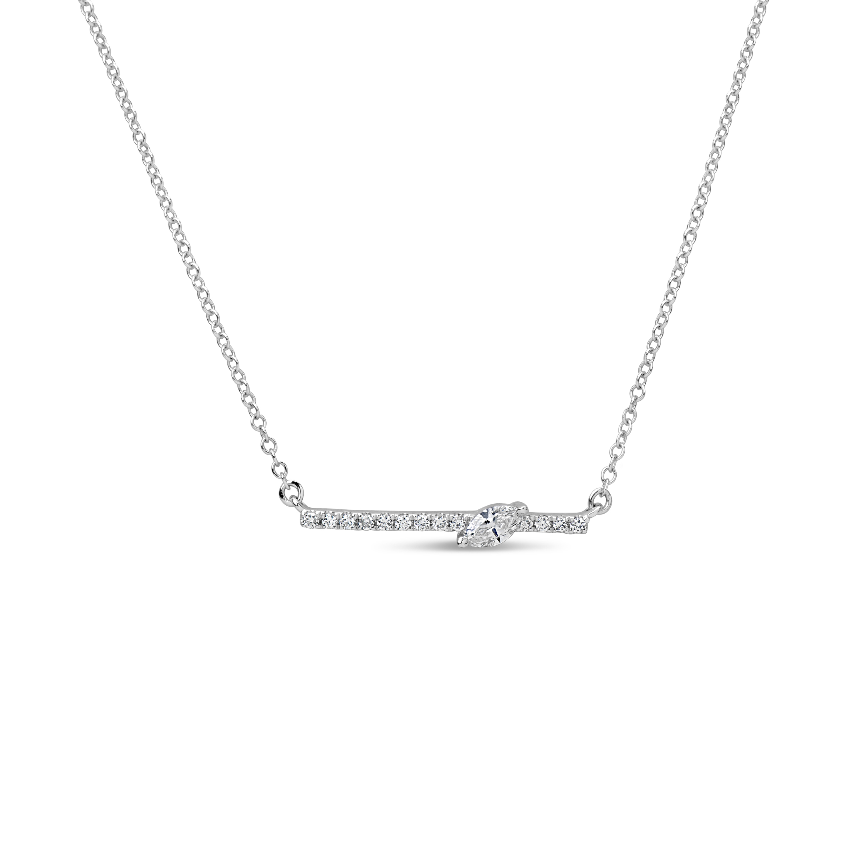 Diamond Marquise Bar Pendant Necklace