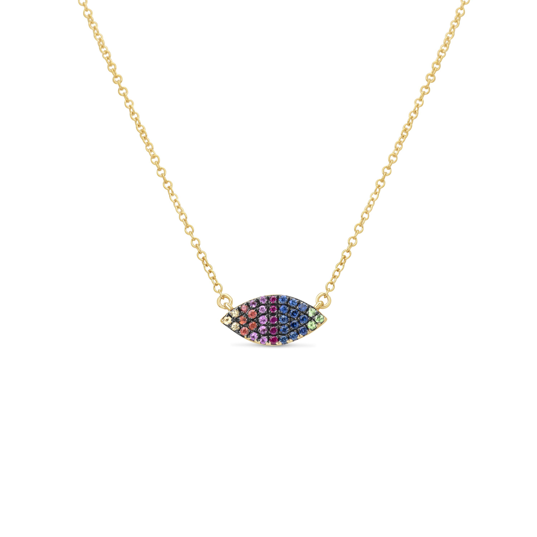 Rainbow Sapphire Marquise Pendant Necklace