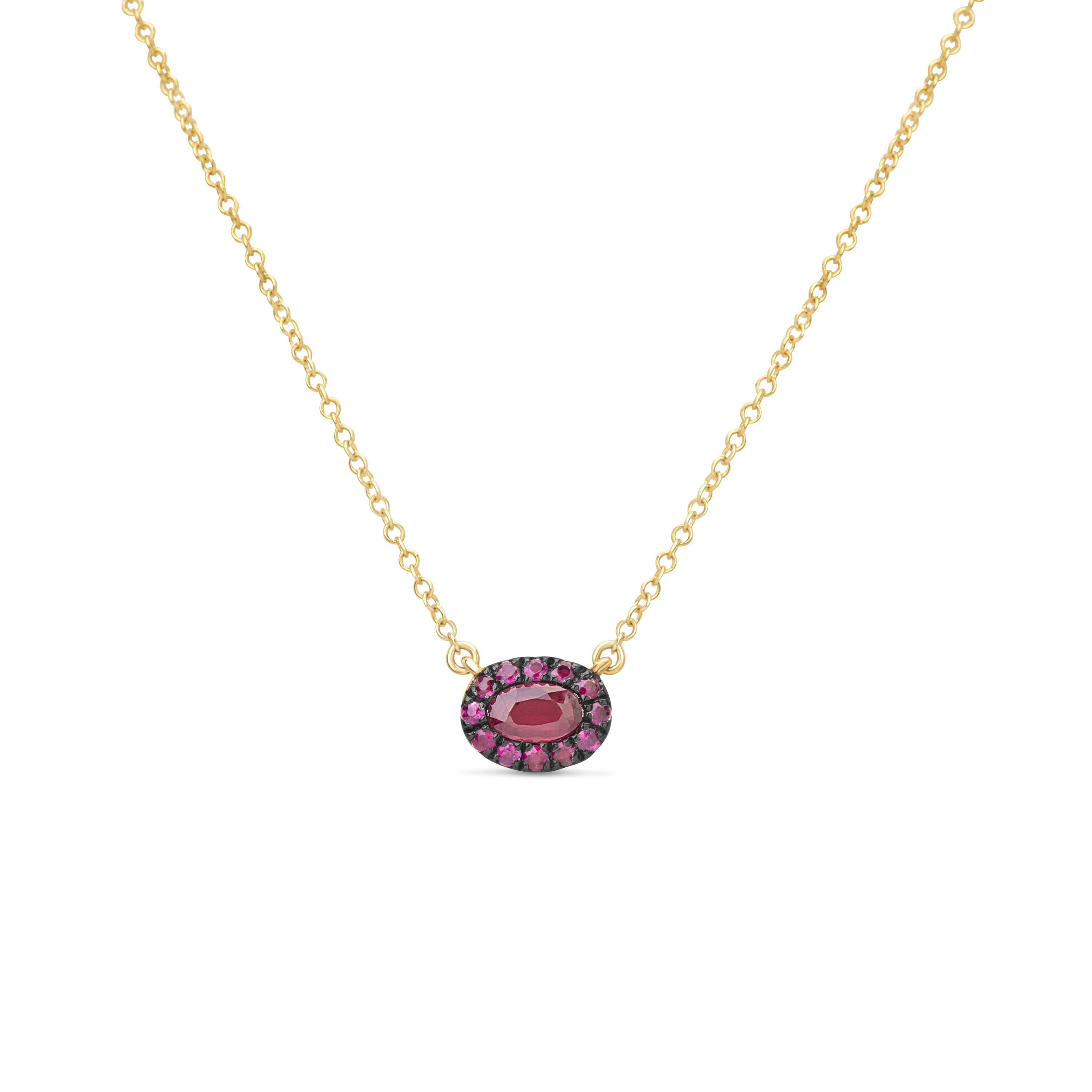 Ruby Oval Pendant Necklace